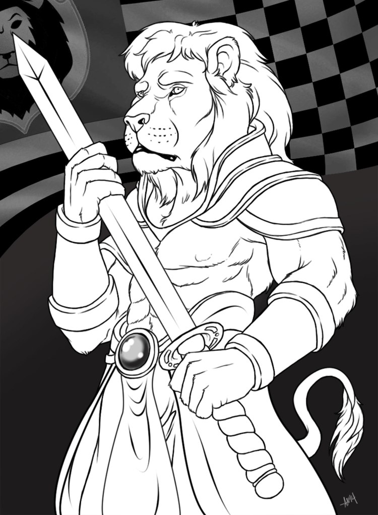 Anthro-Lion-with-Sword_ink
